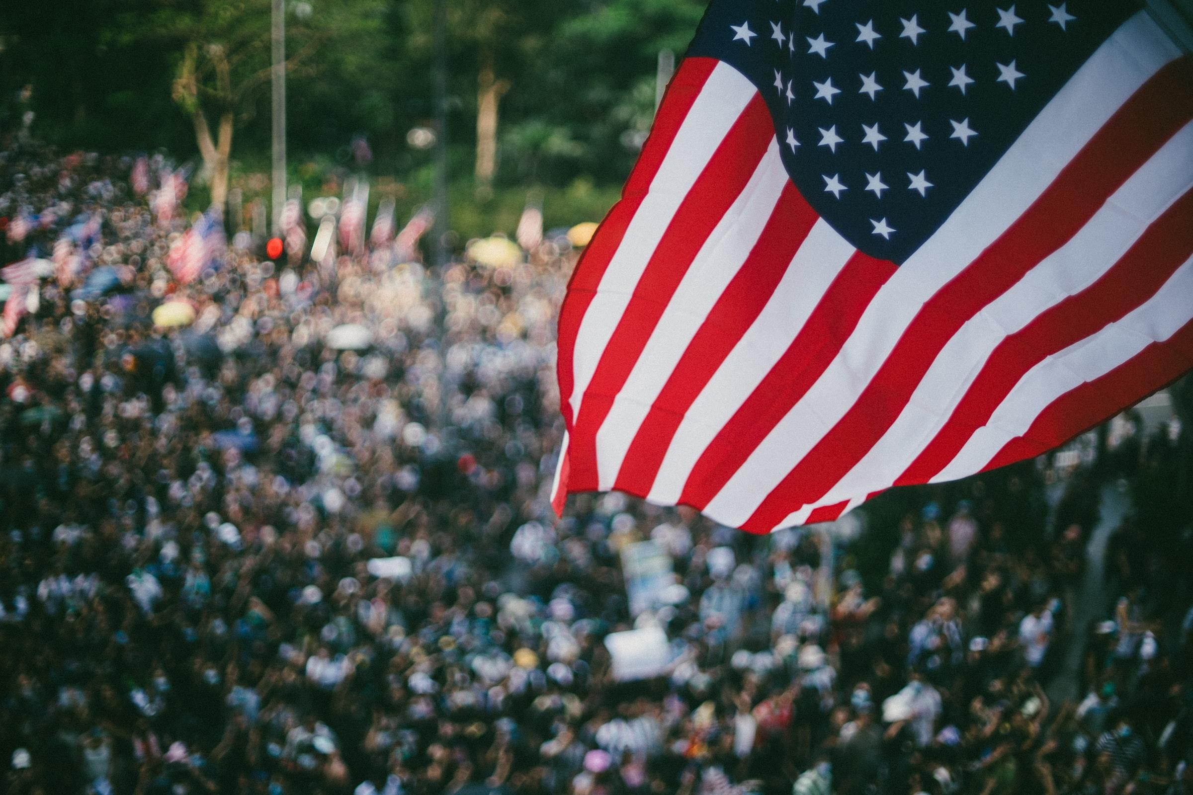 American flag in focus